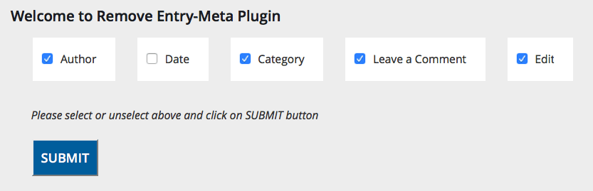 Remove/hide Author, Date, Category Like Entry-Meta